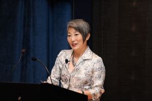 "10/21/14 Professor Lisa Nakamura presents her lecture ""Digitizing Race and Gender"" with special guest, author Gwendolyn Calvert Baker."
